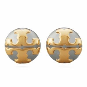 New Tory Burch  applied logo stud earrings